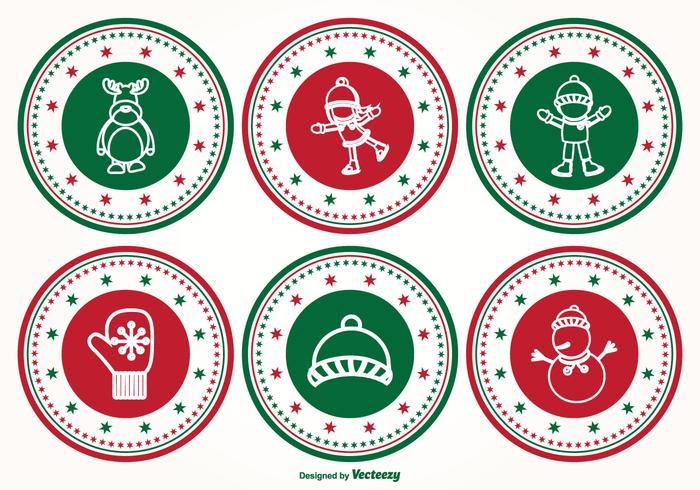 Conjunto de sellos de Navidad vector