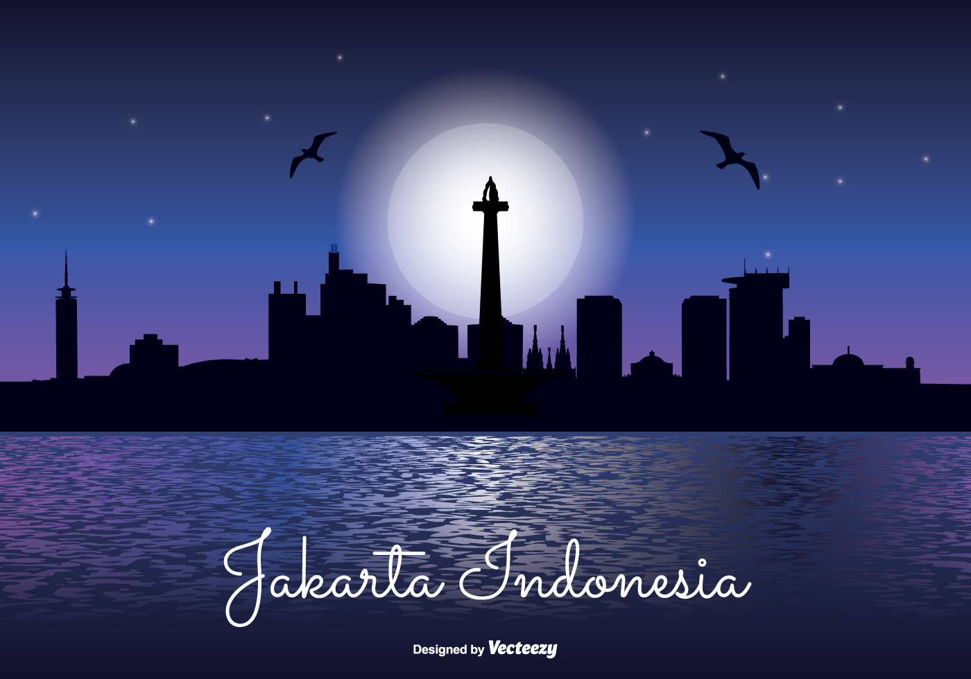 Jakarta Indonesia Night Skyline Download Free