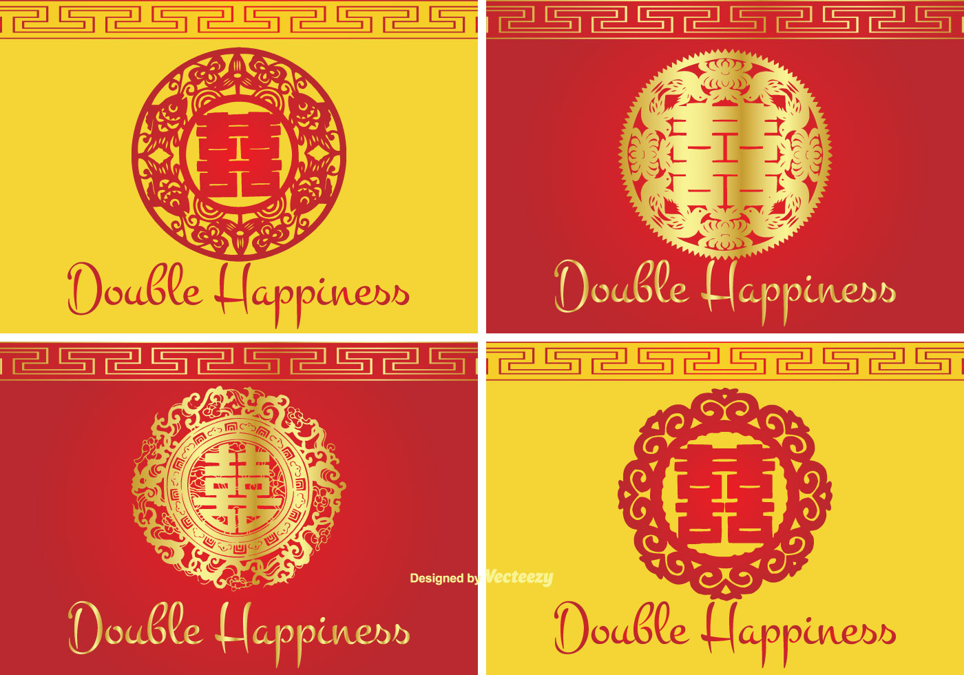 Chinese Double Happiness Symbol Label Set Download Free Vector Art Labels Diagrams 3d Origami Dragon Instructions Stock Graphics Images