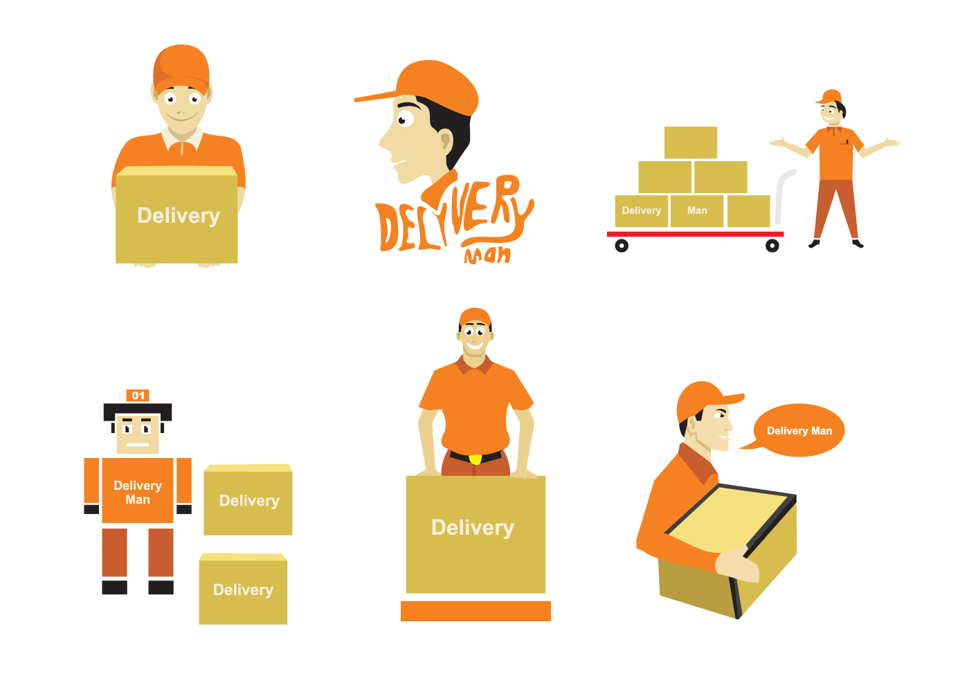 Delivery Man Illustration Download Free Vector Art