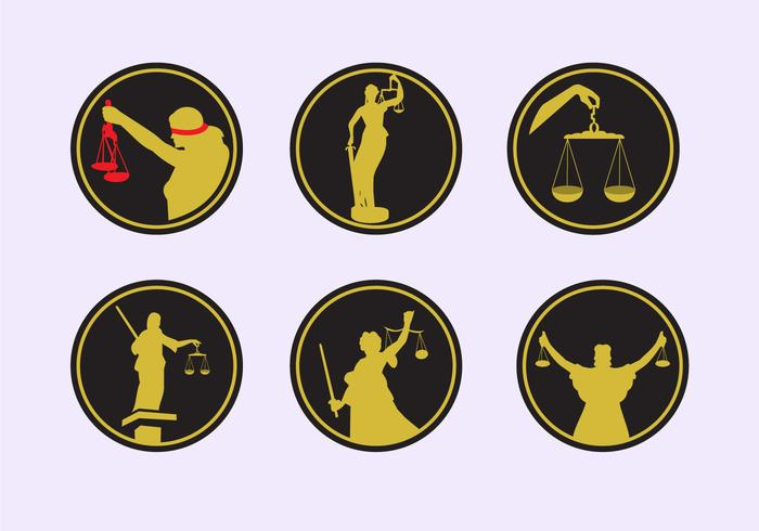 Lady justice icons vector