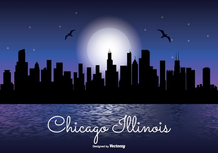 Chicago Illinois Night Skyline Illustration