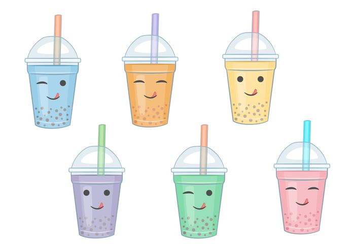 Bubble Tea Vector Cartoons