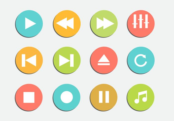 Free Media Player Iicons Vector