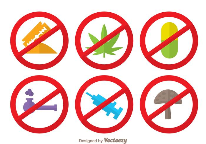 No Drugs Flat Colors Icons