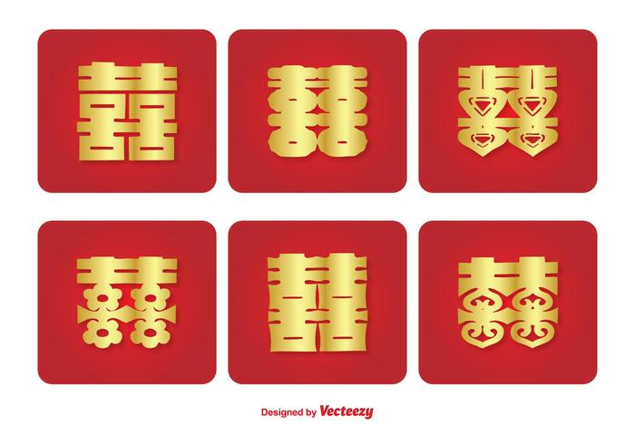 Chinese Double Happiness Symbol Icon Set Download Free Vector Art