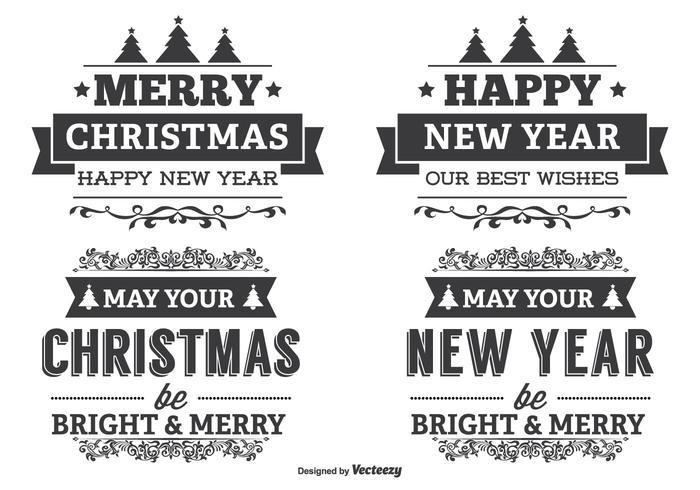 Conjunto de etiquetas tipográficas de Navidad
