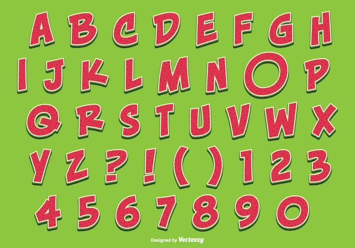 Conjunto bonito de alfabeto em estilo de melancia