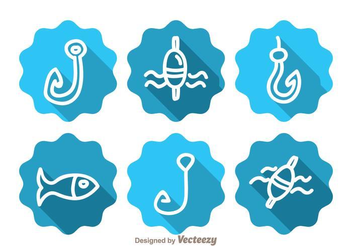 Iconos de la sombra larga de la pesca