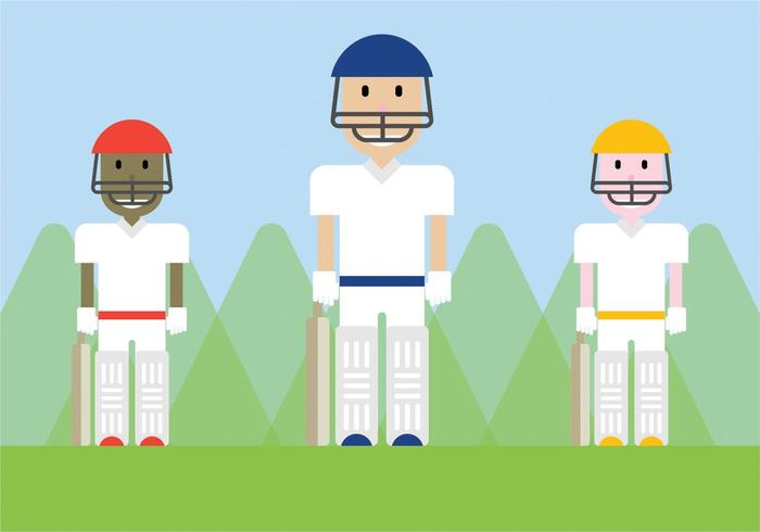 Free Cricket Players Vector