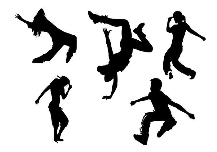 Hip Hop silueta vectores