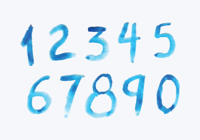 Watercolor Style Numbers