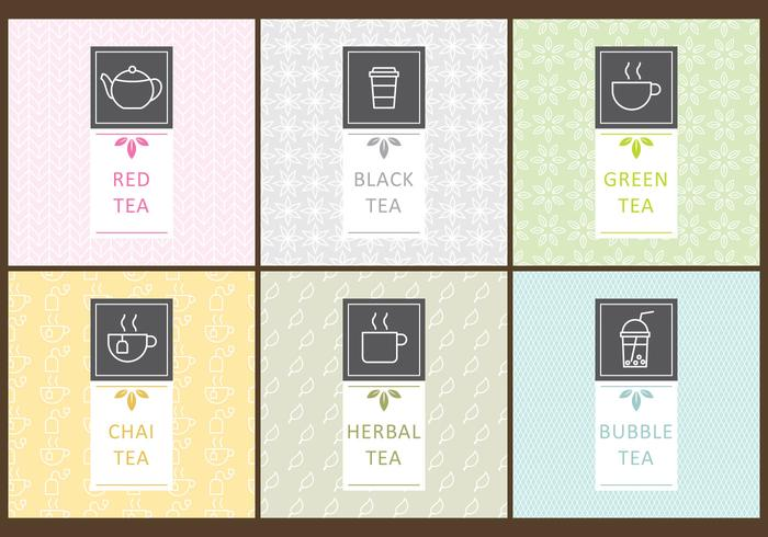 Etiquetas del té vector