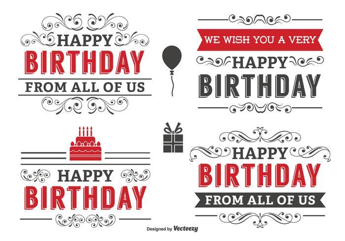 Conjunto de etiquetas de cumpleaños tipográficas vector