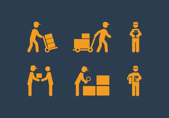 Vector Delivery Man Icon Set