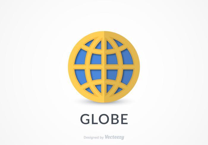 Vecteur d'icône de logo gratuit globe plat