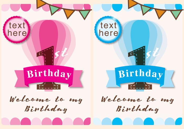 Invitation 1st Birthday Girl And Boy Download Free Vector Art