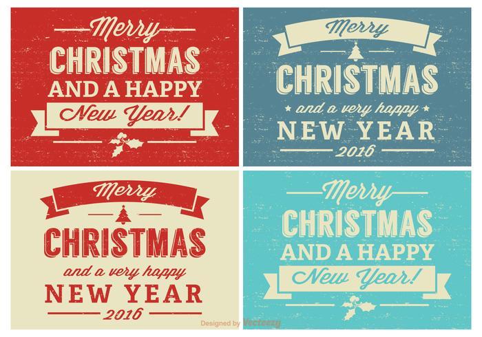 Set di etichette di Natale retrò angosciata