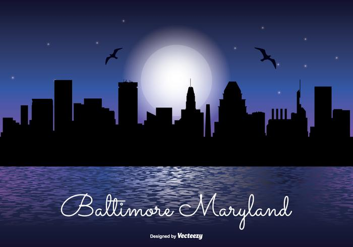 Horizonte noturno de baltimore maryland