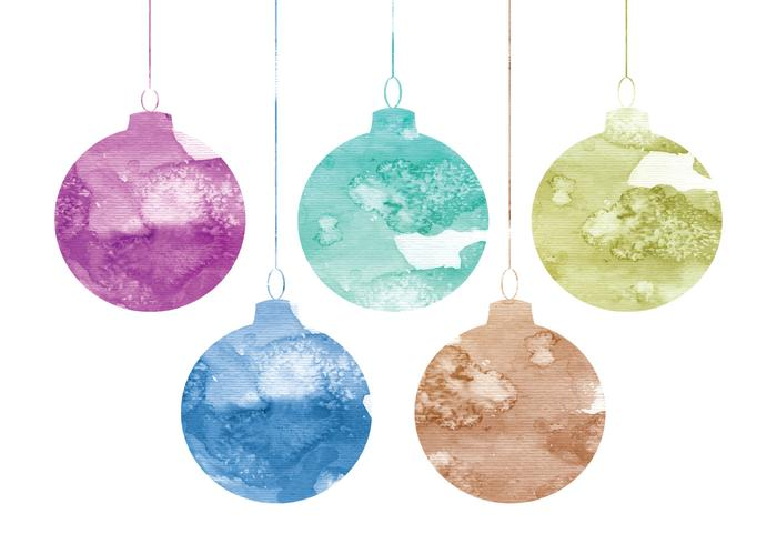 Vector Watercolor Christmas Ornaments