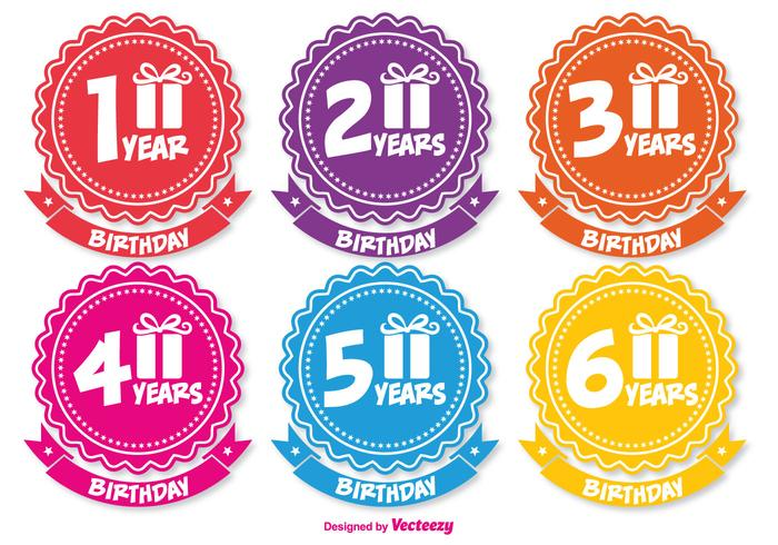 Colorful Birthday Badges vector