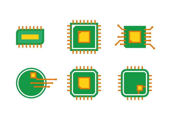 Simple Microchip Vector Set