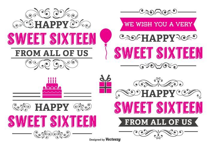Typografische Sweet 16 Label Set
