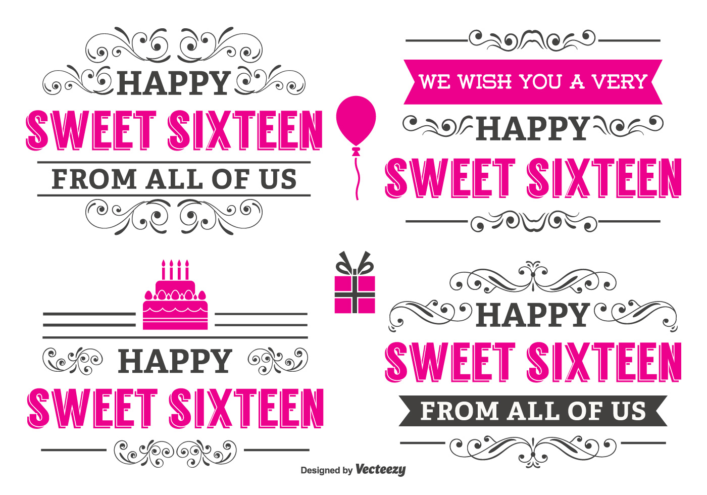 typographic sweet 16 label set download free vector art stock graphics images. Black Bedroom Furniture Sets. Home Design Ideas