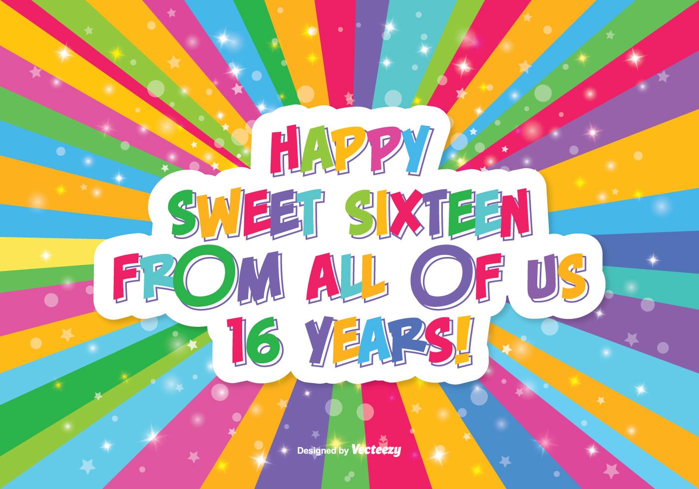 Happy Sweet 16 Illustration Download Free Vector Art