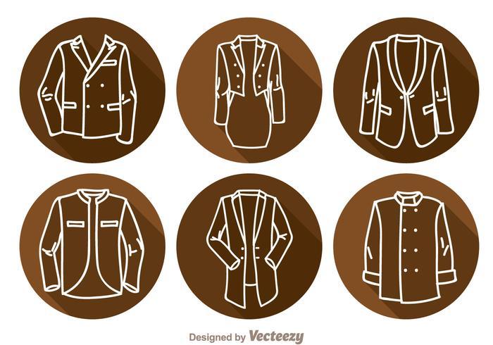 Ícones longos da sombra da jaqueta