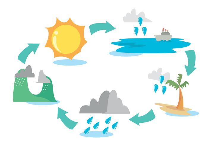 Water Cycle Diagram Vector Set