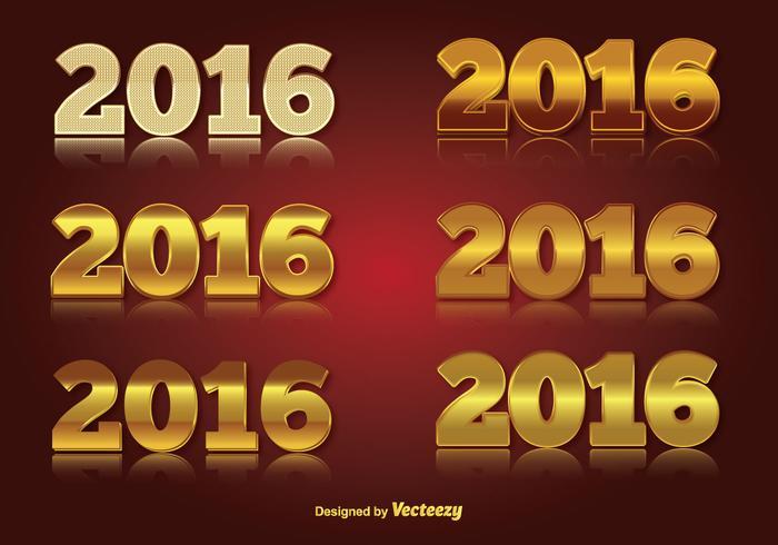 2016 Gouden Nummer Vector Set