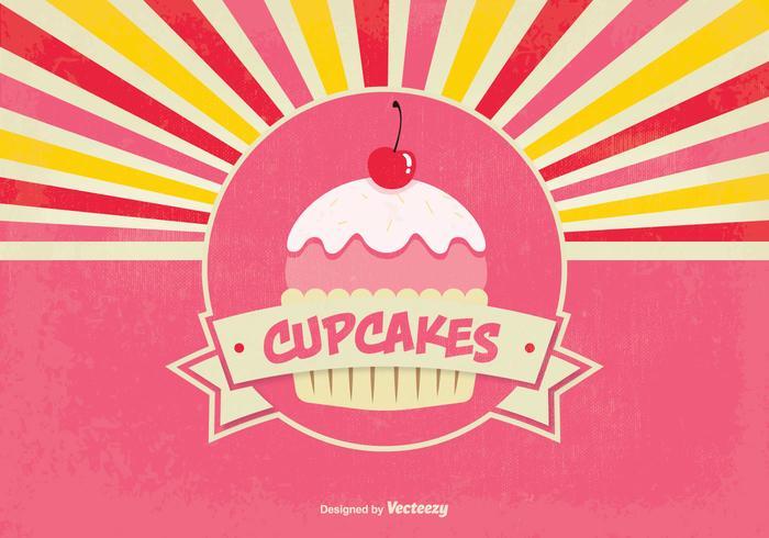 Cute Retro Estilo Cupcake ilustración de fondo