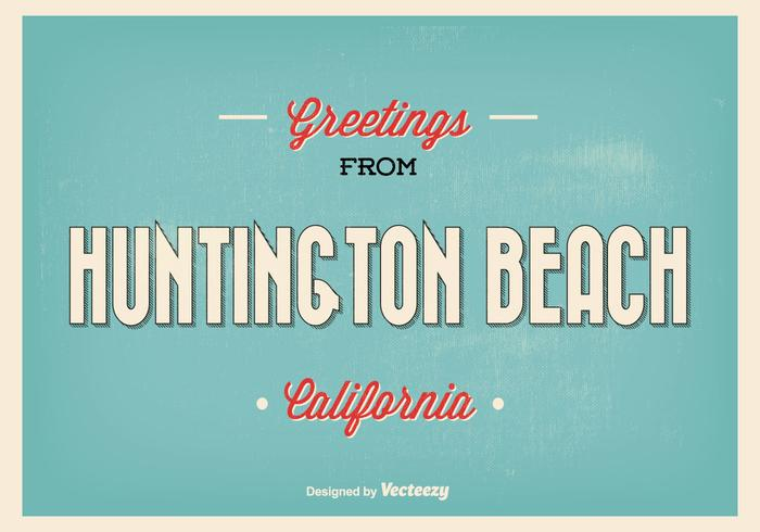 Huntington Beach Retro Greeting Illustration