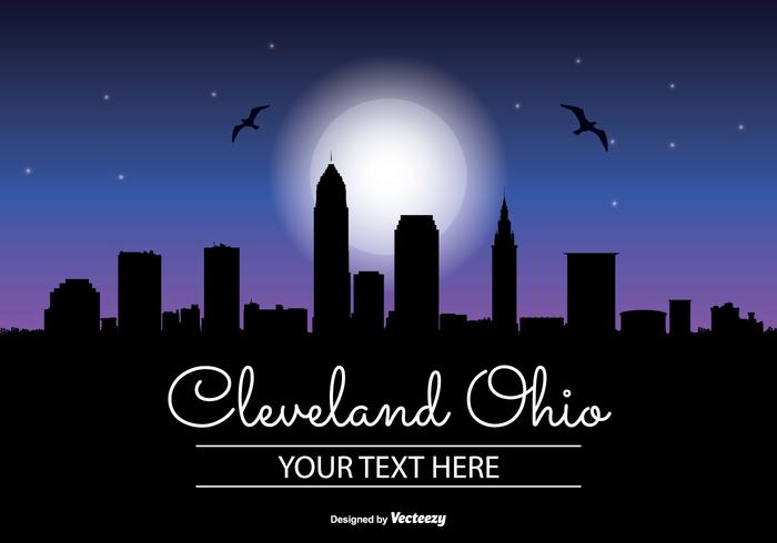 Celeveland Ohio Night Skyline Illustratie