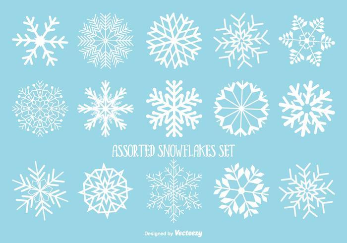 Verschiedene Schneeflocken Set