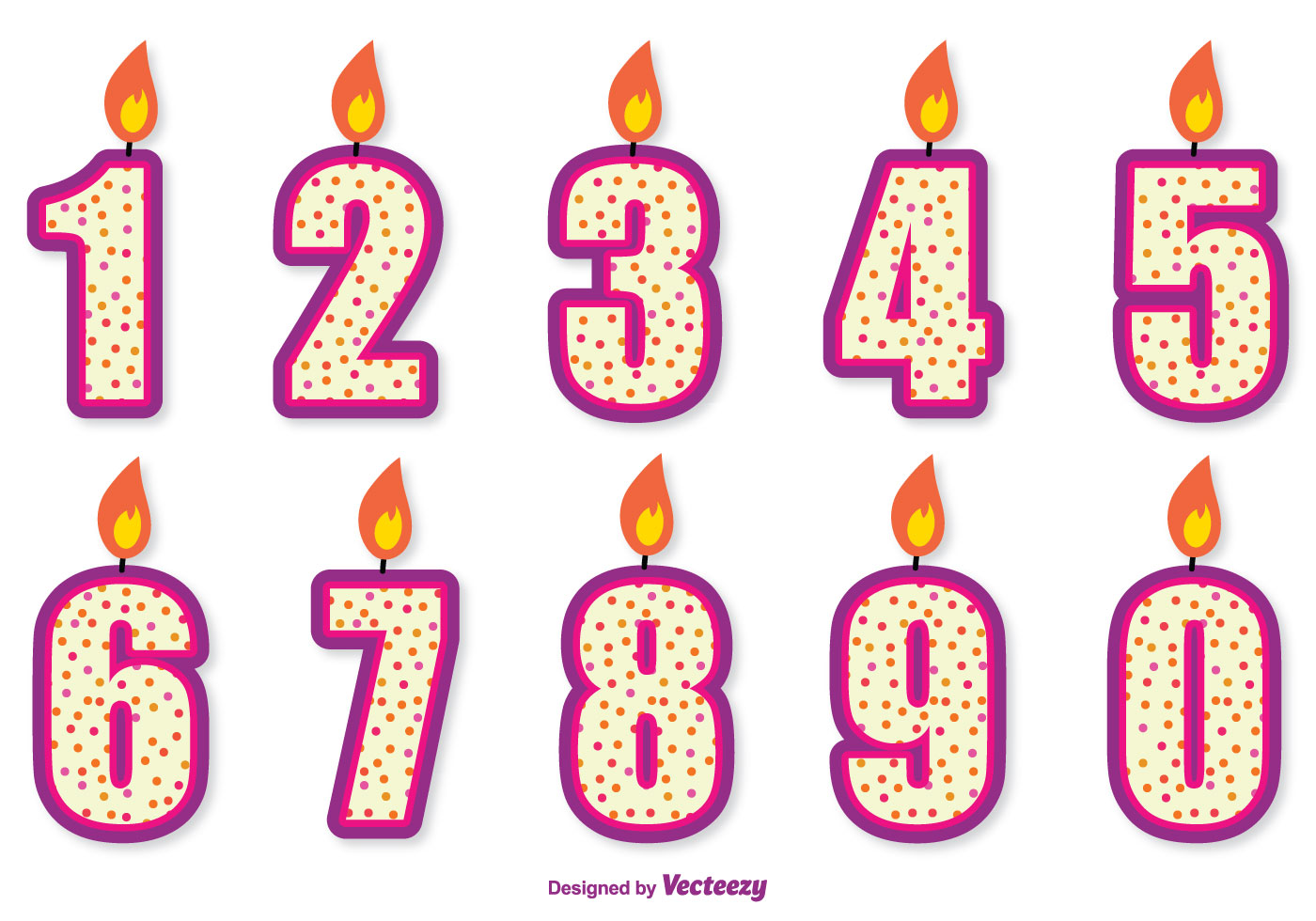 Cute Birthday Number Candle Set Download Free Vectors