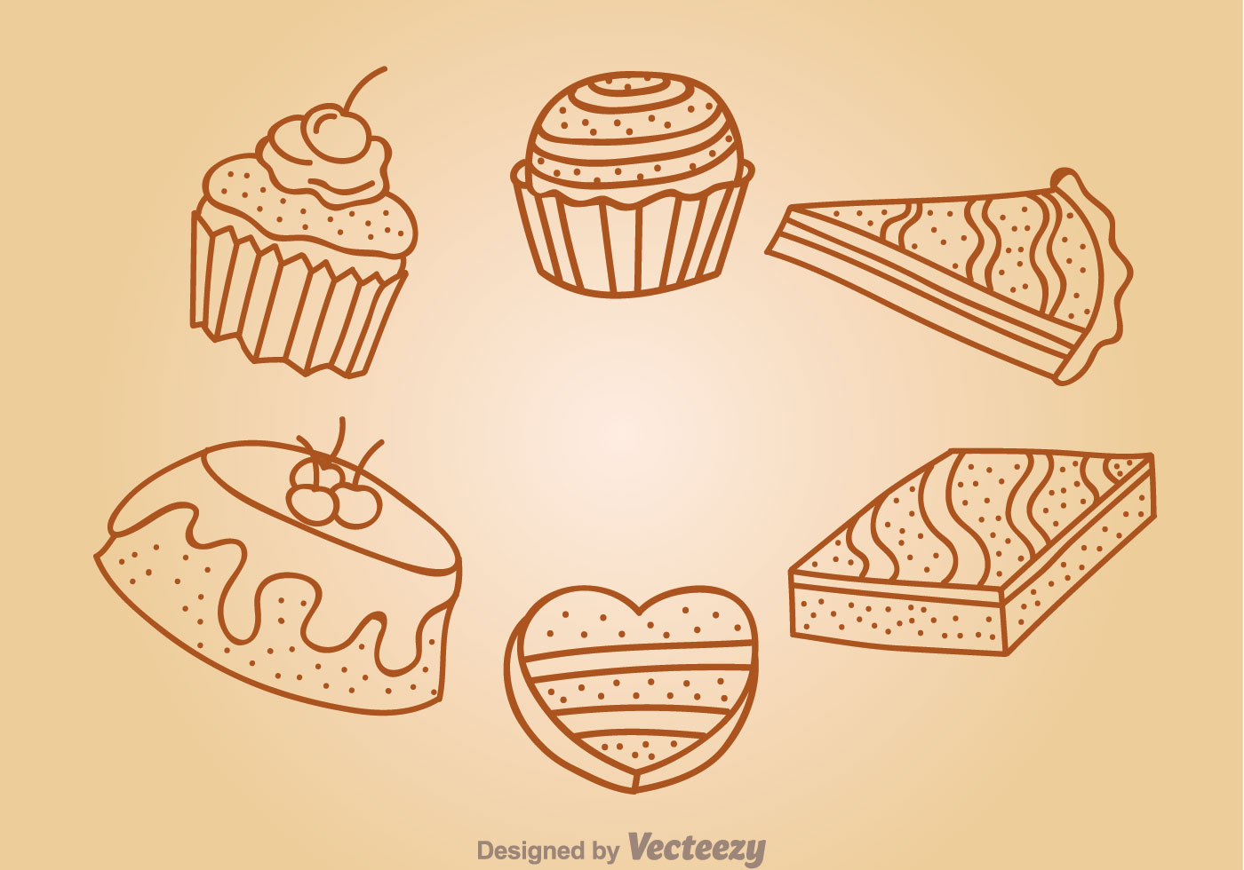 Chocolate Cake Outline Icons Download Free Vector Art