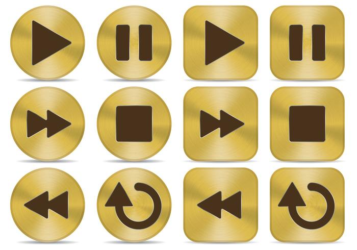 Gold Media Buttons