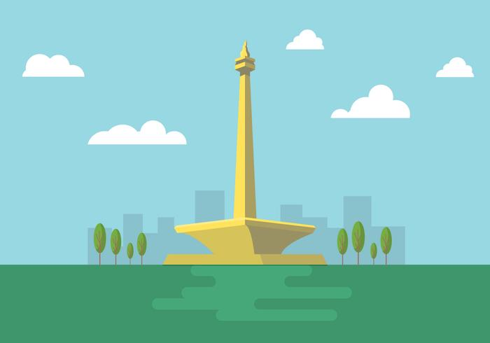 Free Vector Illustration of Indonesian National Monument Monas