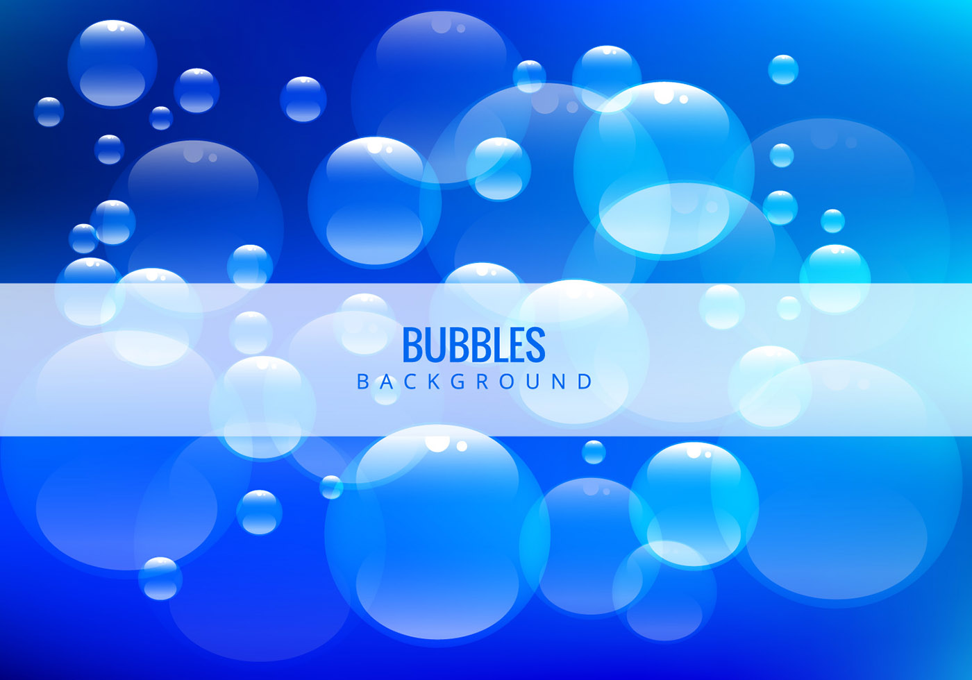 Water Bubbles On Blue Background