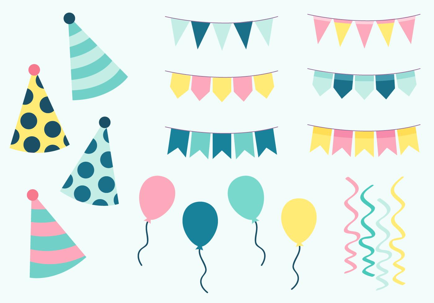 Birthday Party Elements Vector Download Free Vector Art