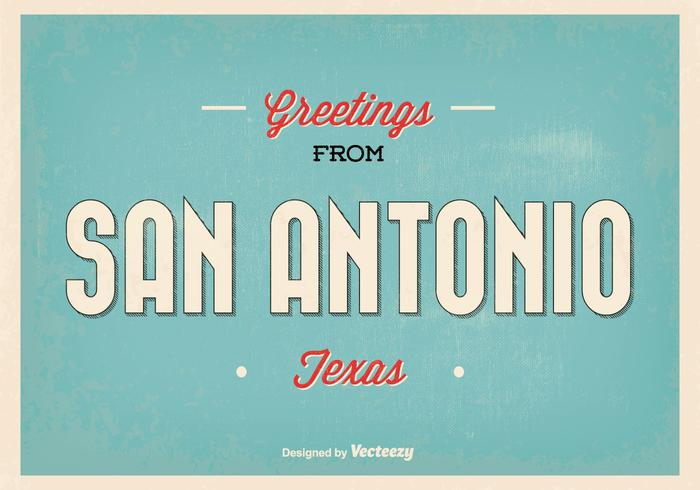 Retro San Antonio Gruß Illustration