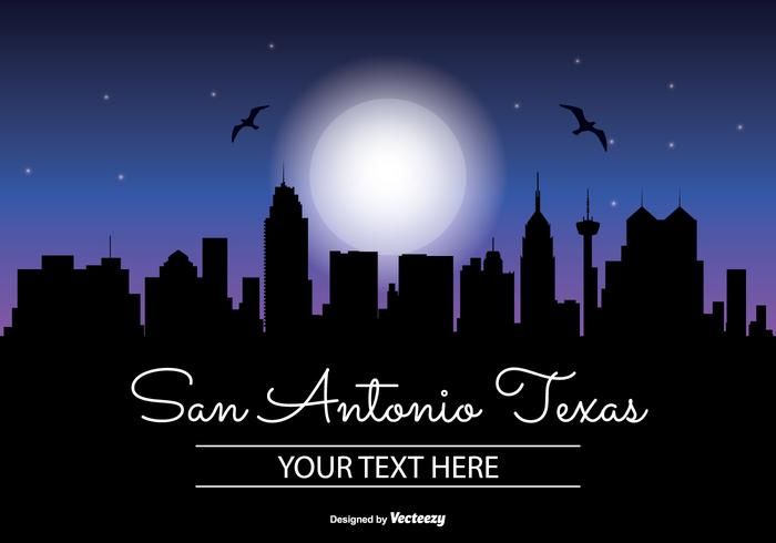 San antonio texas natt skyline illustration