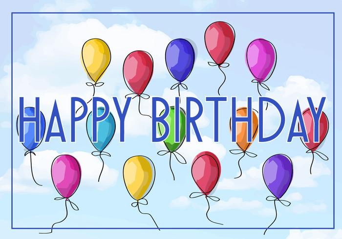 Free Vector Illustration einer Happy Birthday Grußkarte