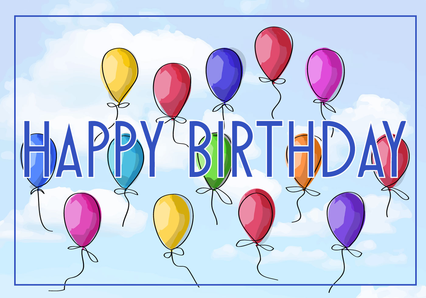 Free vector illustration of a happy birthday greeting card - Birthday cards images free download ...