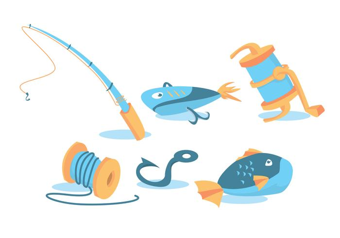 Fish Rod Vector Set