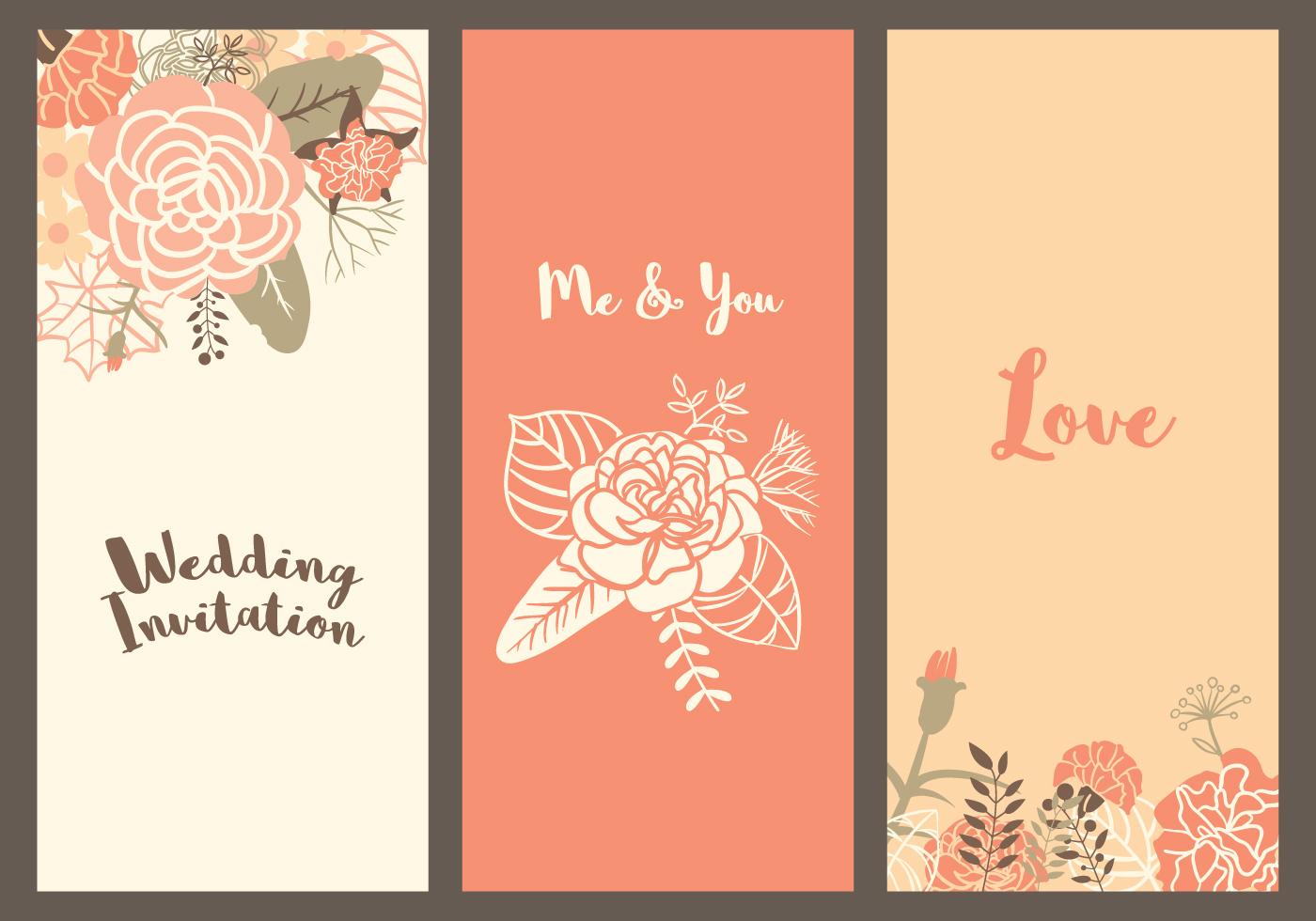 Vector Wedding Invitations: Vector Carnation Wedding Templates