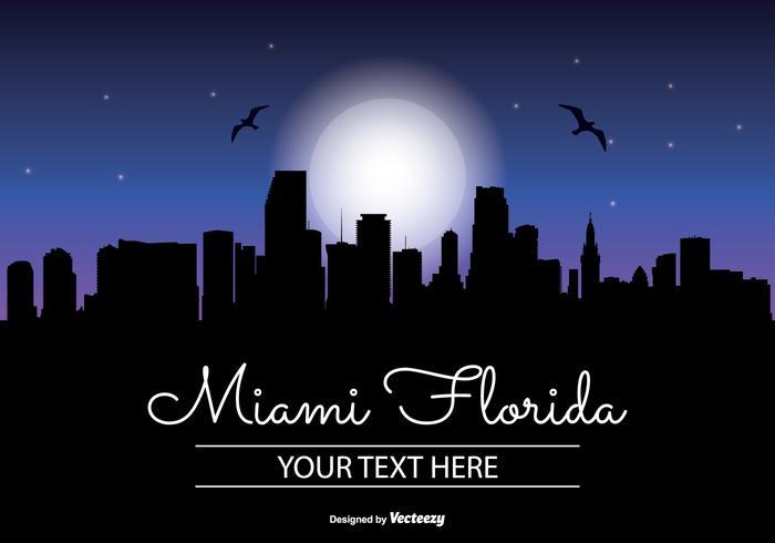 Miami Night Skyline Illustration