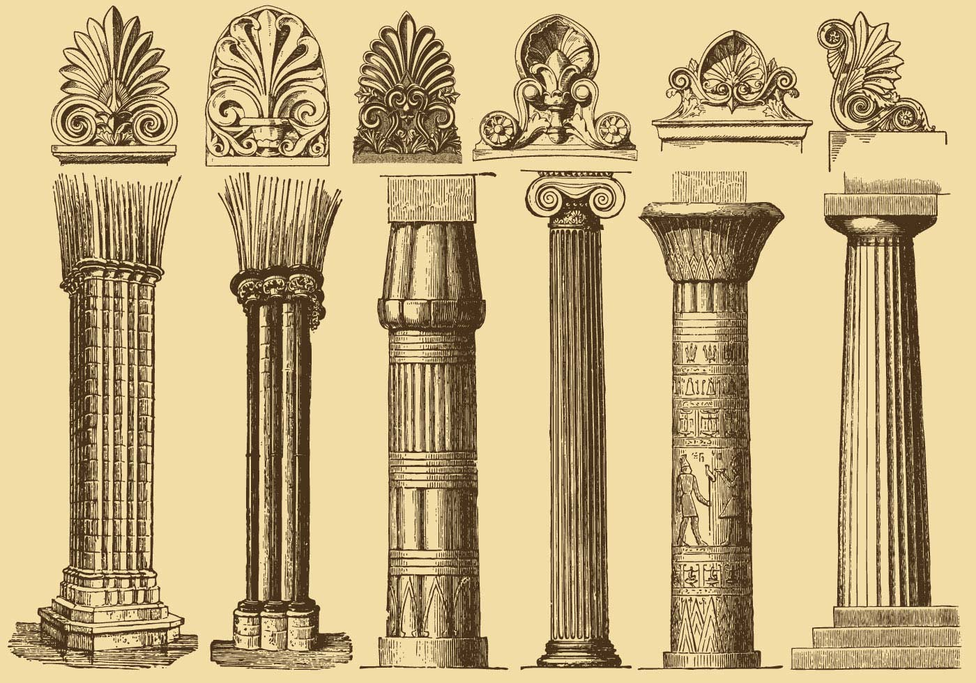 Old style drawing columns download free vector art for Architectural columns